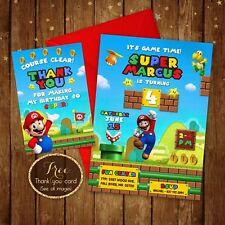 "Super Mario Birthday Invitation - Super Mario Card Digital Printable file - 5x7"""