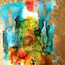 mit echtem Blattgold MALEREI Kunst ACRYL,ÖL Original BILD Gemälde MODERN Unikat