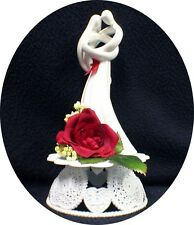 "Romantic Wedding Cake Topper  RED rose ""CIRCLE OF LOVE"" heart Kim LAWRENCE top"