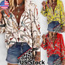 Womens Chain Print Long Sleeve Button Down Ladies OL Shirt Casual Blouse Tops US