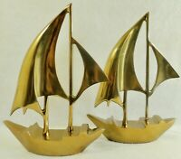 "Pair Large Antique/Vtg 20"" Solid Brass Nautical SAILBOAT Art Sculpture Figurines"