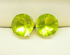 PERIDOT 925 STERLING SILVER STUD EARRINGS  ROUND 8mm CREATED GREEN STONE