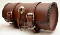 Sacoche trousse à outil de fourche en CUIR Rond Marron - moto custom harley vn