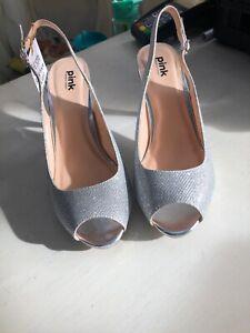 Fiesta Silver Glittery Kitten Heel Open Toe And Open Back Size 5 BNIB