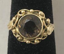 Smokey Quartz 14K Yellow Gold Ring Size 7