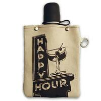 Happy Hour 8oz Canvas Canteen Flask Travel Beverage Container Portable USA Made