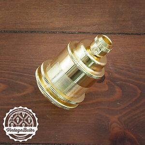 Vintage metal pendant lamp holder Brass retro antique style light E27 #2