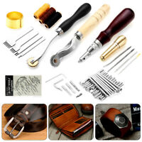 48Pc Vintage Leather Craft Kit Stitching Sewing Beveler Punch Working Hand Tools