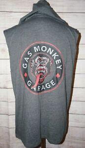 Gas Monkey Garage Men's Gray Sleeveless Pullover Hoodie Shirt Top Size XL