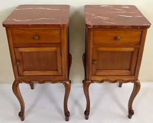 Antique Pair Louis XV French Walnut Marble Top Nightstands