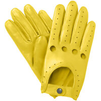 NEW MEN'S CHAUFFEUR  REAL LAMBSKIN SHEEP NAPPA LEATHER DRIVING GLOVES - YELLOW