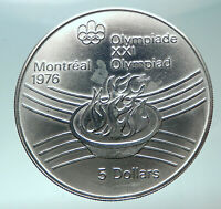 1976 CANADA Queen Elizabeth II Olympics Montreal Torch Silver $5 Coin i82003