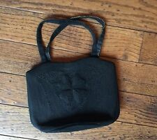 VINTAGE 1940's BLACK CORDE Rayon ART DECO HANDBAG PURSE