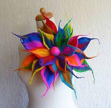 felted wool flower pin,brooch,corsage,handmade,lagenlook, LBGT pride festival