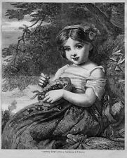 CHERRY RIPE, 1867 ENGRAVING, YOUNG GIRL GATHERING AND EATING CHERRIES, JUVENILE