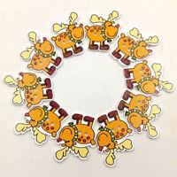 KE_ 50Pcs Christmas Deer Wooden Buttons Round Craft Scrapbook Sewing DIY Decor