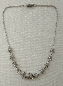 Vintage marcasite silver necklace Donald Simpson GAY CHARM 41cm sterling signed