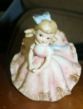 1960s Japan Hand-Painted Bisque Powder Pink Bloomer Girl Statuette Figurine