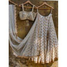 Jacquard Silk White Lehenga Choli Indian Real Mirror Blouse Lengha Chunri Sari