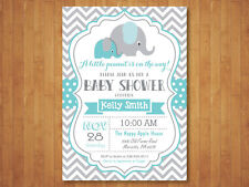 Elephant Baby Shower Invitation. Boy. Blue and Gray Chevron. Printable Digital.