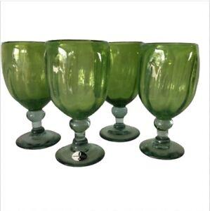 Mouth Blown Glass Stemmed Water Goblet Souffle A La Bouche Green 16 Oz Set Of 4