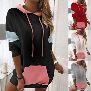 Womens Loose Patchwork Ladies Casual Shift Hoodies Sweatshirt Hooded Mini Dress