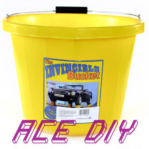 Invincible Yellow Bucket Builders Heavy Duty 3 Gallon Large Strong Plastic Pail