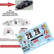DÉCALS 1/18 réf 585 Alpine 1600  Andersson Vainqueur Rallye Monte Carlo 1971