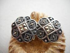 Vintage Sterling Silver Marcasite Clip On Earrings  RE2125
