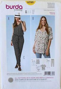 Burda Style 6789 Womens Plus Tops Pants Sewing Pattern Sz 16-28