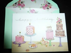 Papyrus Happy Birthday Card 4 embossed cakes on stands -super cute