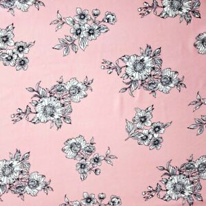 """Pink Floral Creppe Chiffon Shirting Fabric 56"""" By The Yard Black White Flowers"""