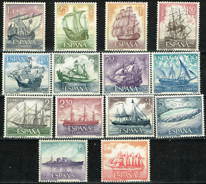 Spain Caravelas Historical Ships set of 14 stamps with Airmails 1960 MNH