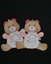 Lot 2 Doudou Ours Plat Rose SUCRE D'ORGE Fille Etoile Lumineux Luminescent NEUF
