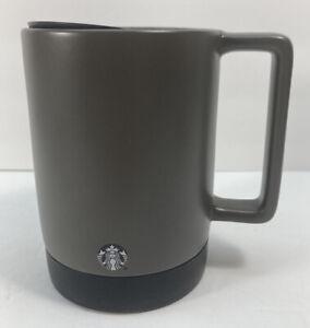 Starbucks Coffee Travel Mug Ceramic 14 oz Cup With Lid Rubber Bottom Grey/brown
