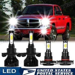 For Dodge Dakota 2010 4Pcs H13 9008 LED Headlight 5202 2504 Fog Light Bulb 6000K
