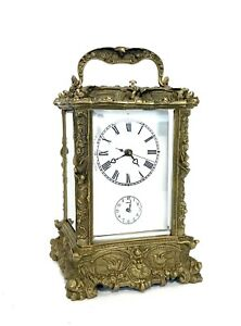 French Style Art Nouveau Brass Case Porcelain Dial 8 Day Repeater Carriage Clock