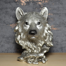 More details for antique silver wolf head bust sculpture wild animal statue gift ornament