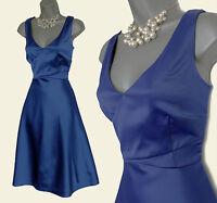 MONSOON Indigo Blue Satin Empire Waist Prom Cocktail Party Dress UK 12 EU 40