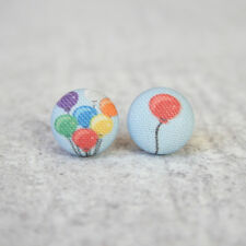 Balloons Fabric Button Earrings