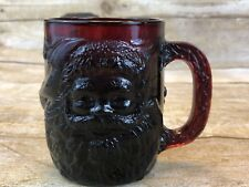 Arcoroc Ruby Red Santa Glass Mug Cup France Holly Leaves Embossed Christmas