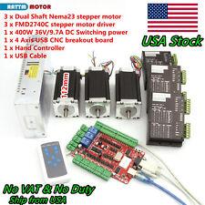 【US】3 Axis USB CNC Controller Kit NEMA23 stepper motor 112mm 425oz+4A 40V Driver