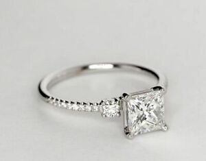 Princess Cut Diamond Valentine's Day Special Ring Solid White Gold 2.04 Ct