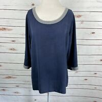 Soft Surroundings Navy Blue Silk Tunic Top Gray Trim Keyhole Back Size XL