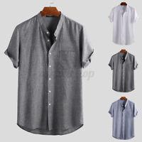 Mens Casual Loose Short Sleeve V Neck Retro Cotton Linen T Shirt Summer Tee Tops