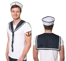 MENS DOUGHBOY SAILOR COSTUME SET HAT AND SCARF KIT NAVY MARINE FANCY DRESS