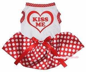 Valentine Kiss Me Heart White Top Minnie Dots Tutu Pet Dog Dress Puppy Clothes