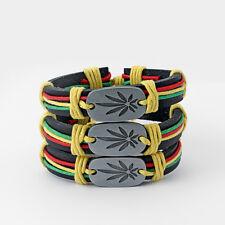 A Rasta Cord Wrap Pot Leaf Ganja Marijuana Weed Charms Leather Bangle Bracelet