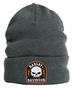 Harley-Davidson Men's Landed Willie G Skull Embroidered Cuffed Beanie Hat - Gray