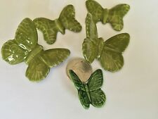 5 Green Bent Wing & Flat Butterfly Ceramic Appliques Embellishments Wind Chimes